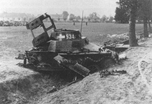 Kilőtt Panzerkampfwagen I Ausf.A harckocsi