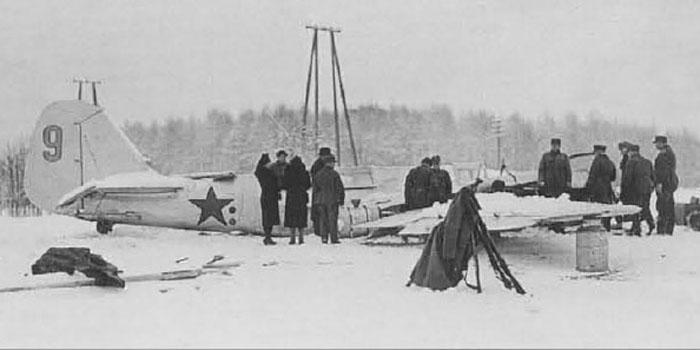 A finn légvédelem által 1939. december 1-én lelőtt szovjet Tupoljev SB bombázó.