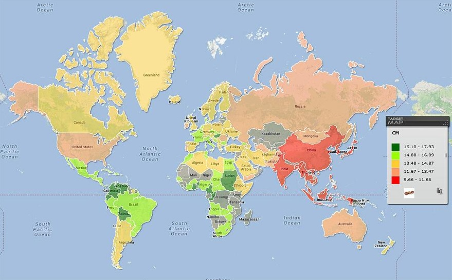 Jól állunk a világ átlagos péniszméreteit bemutató térkép szerint | Az online férfimagazin