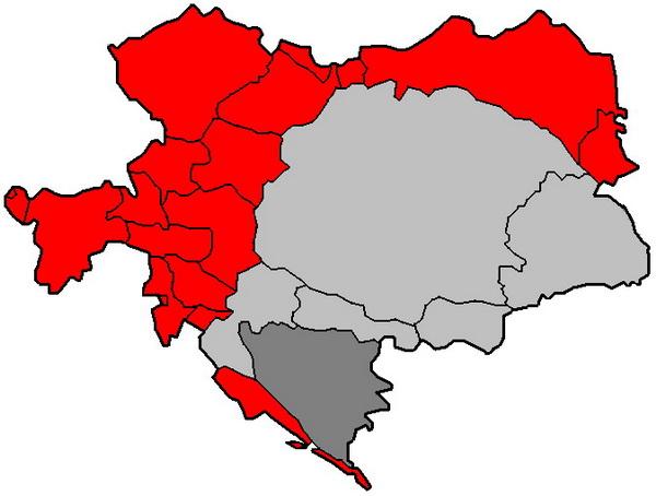 Ziesleithanien - Az osztrák területek pirossal jelölve. Világos szürkével a Magyar Királyság.