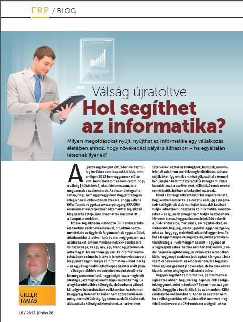 Újabb cikk a Computerworld magazinban