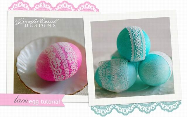 Húsvéti tojások csipke mintával