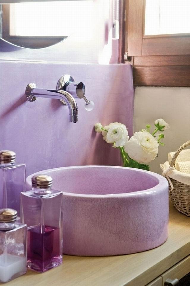 Lakberendezés mindenkinek: 33 lila fürdőszoba - Feng shui trend