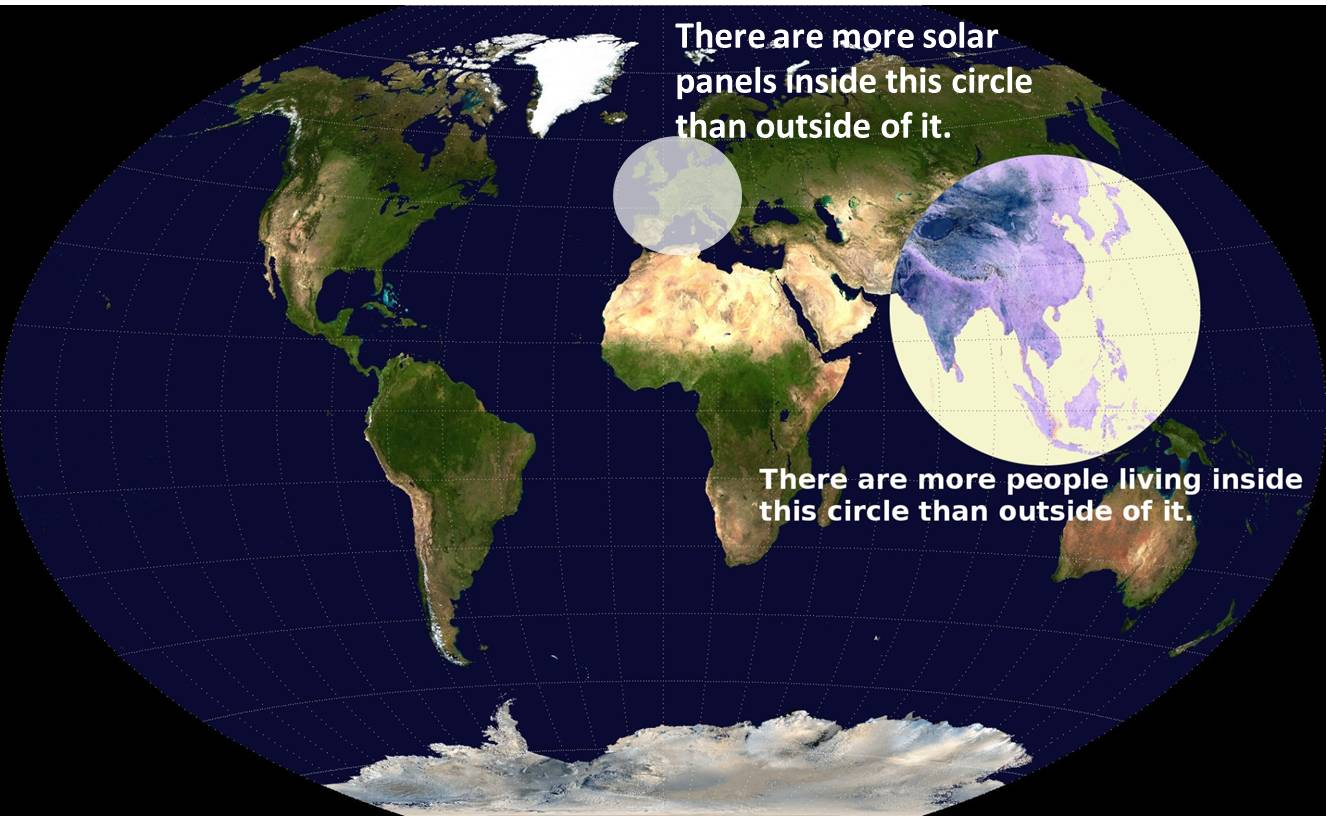 There are more solar panels installed inside this circle than outside ...