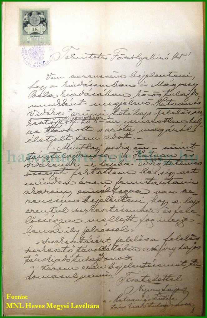 Nyíry Lajos levele 1900.jpg