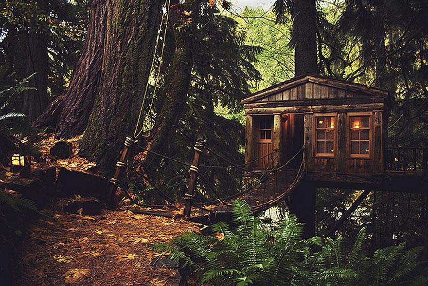 Lombház Seattle-ben (USA)<br />A meséket idéző külalakkal rendelkező lombház extrája, hogy függőhídon közelíthető meg.