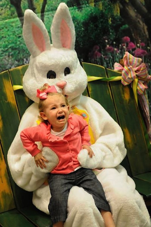 Photo Of  Crying Kids With Bunny