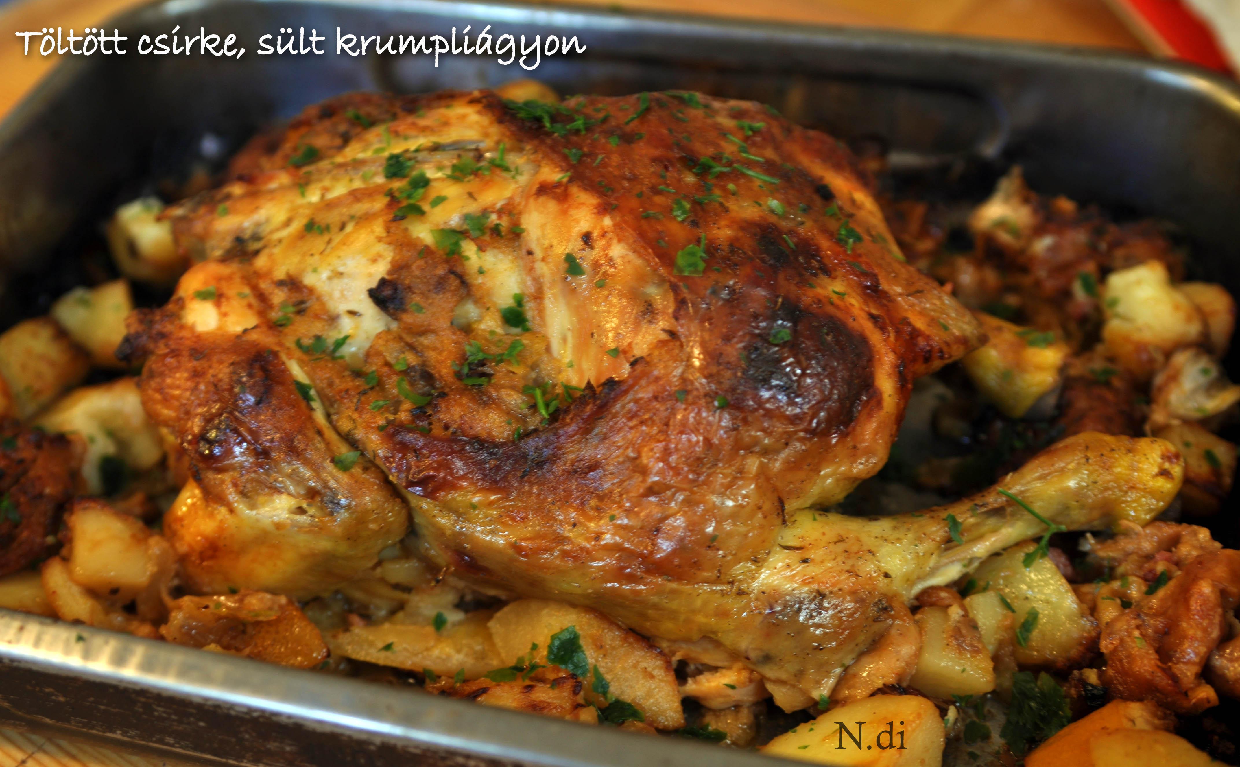 Töltött csirke, sült krumpliágyon