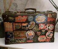 antik bőrönd - régi utazóbőrönd