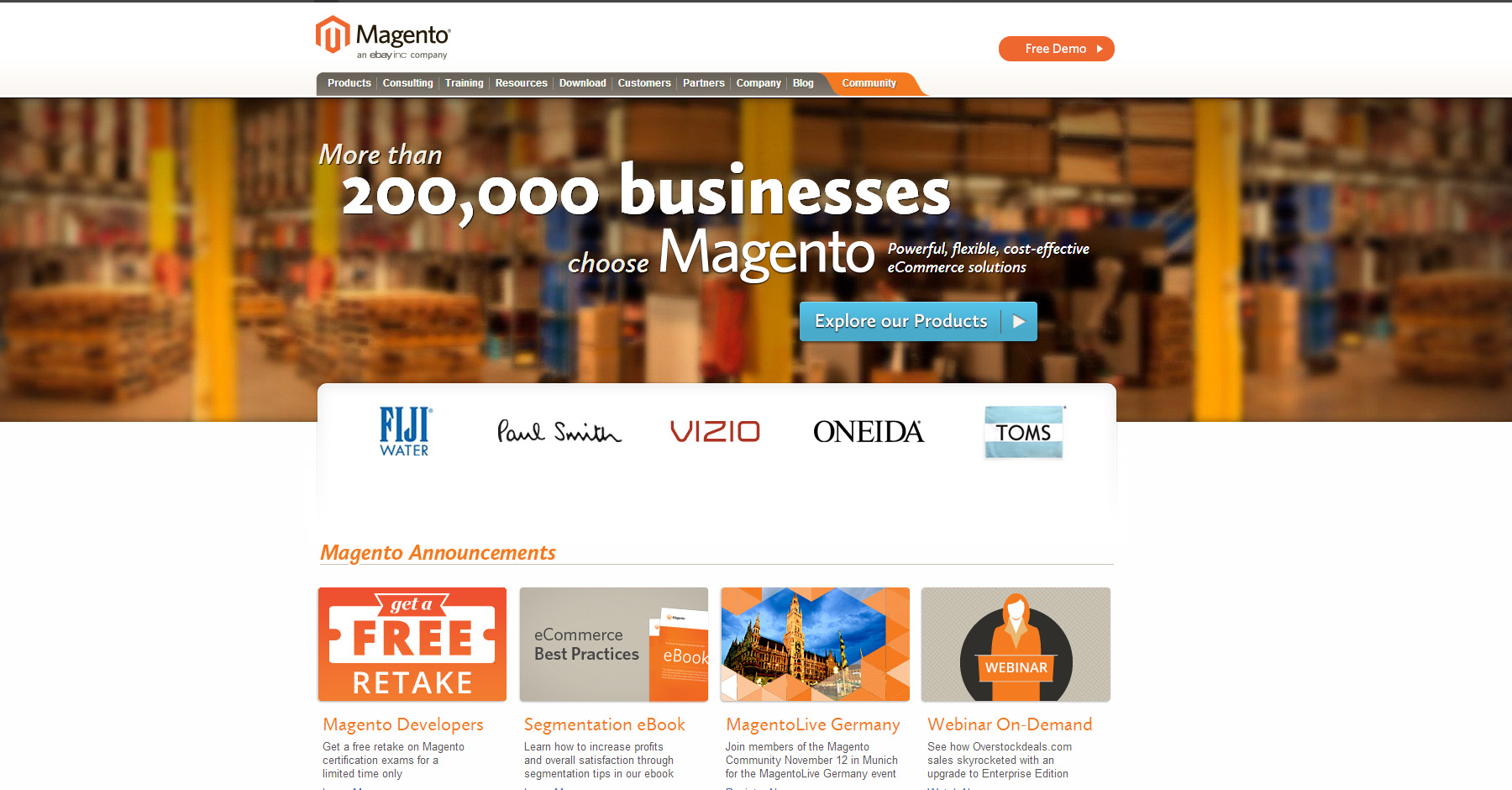 Magento.com hivatalos magento oldal régi verzió