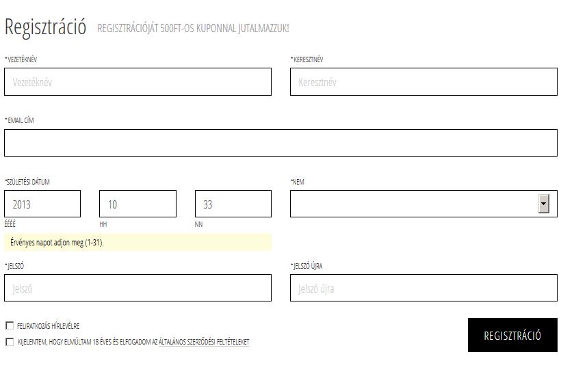 magento regisztráció javítás
