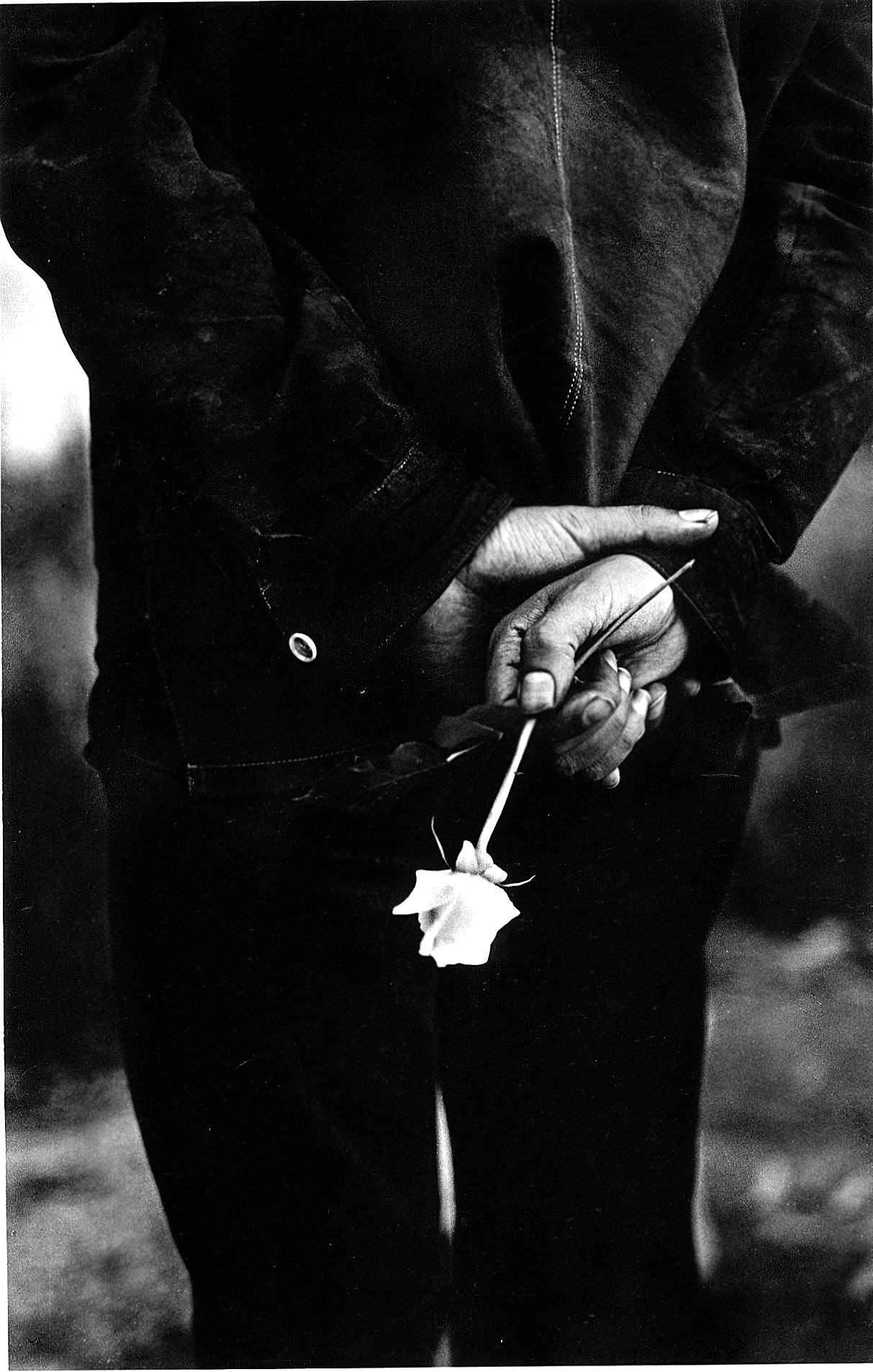 Черно-белое, парень, роза.