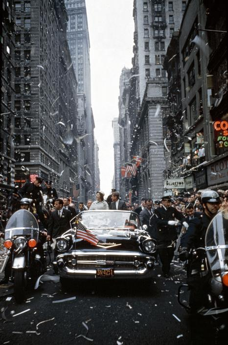 USA. New York City. 1960. Senator John F. KENNEDY and Jacqueline KENNEDY campaign during a ticker tape parade in Manhattan.jpg