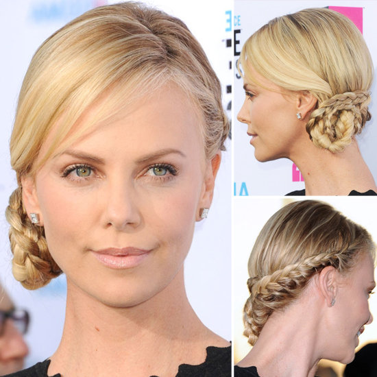 charlize theron inspired braided updo for christmas new