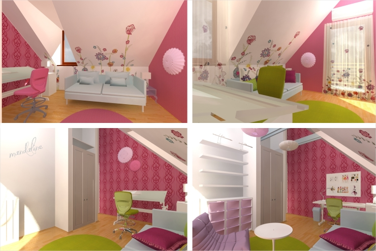 Hogyan készült: terv egy tetőtéri kislányszobához - MANDALINE