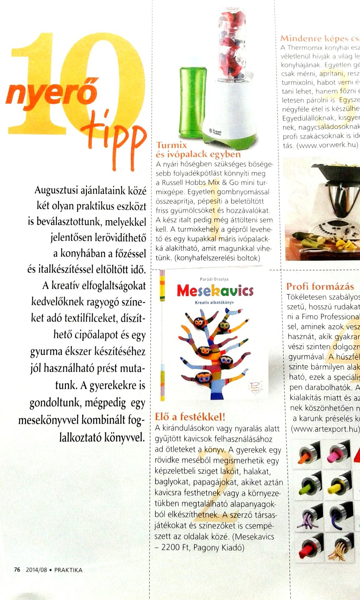 Az augusztusi Praktika magazinban is ott van a könyv.