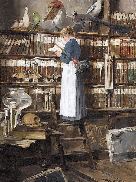 Edouard_John_Mentha_Lesendes_Dienstmädchen_in_einer_Bibliothek-1915.jpg