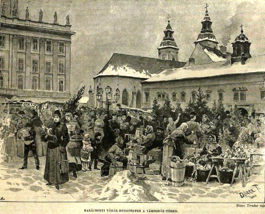 Karácsonyi vásár a Városház téren 1890.JPG