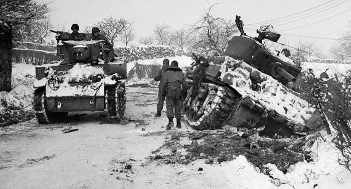 1945 us tanks at Amonines, Belgium.jpg