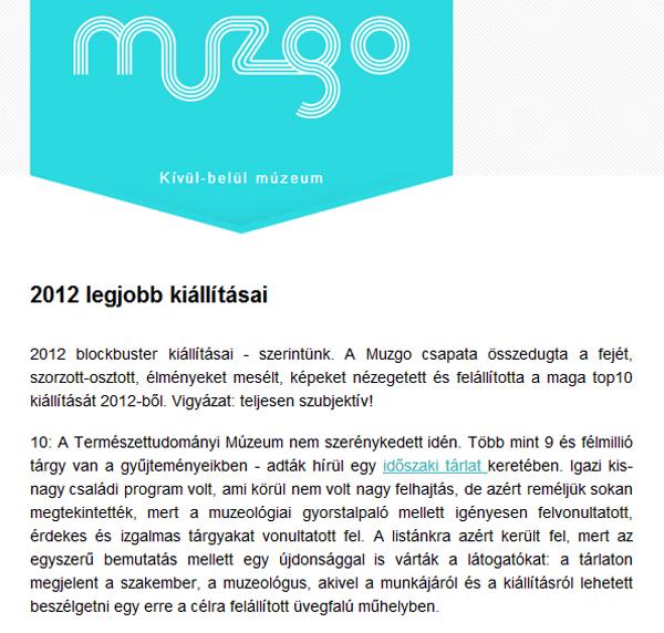 muzgo - 2012 legjobb kiállításai