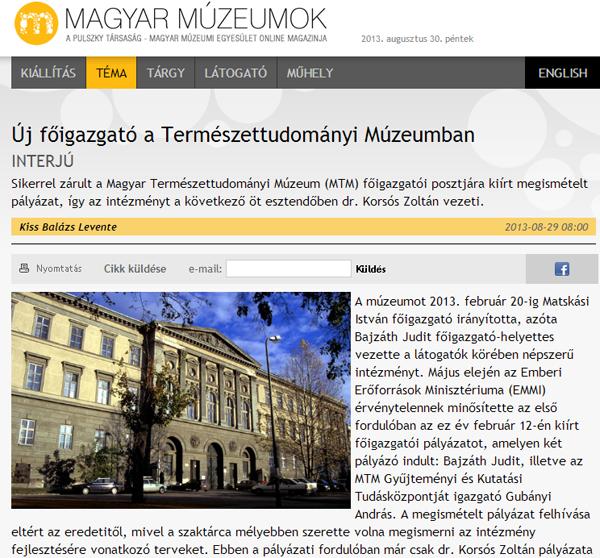 Magyar Múzeumok: Új főigazgató a Természettudományi Múzeumban