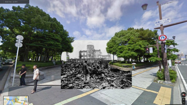 Egy japán férfi vizsgálgatja a romokat Hirosimában az atombomba ledobását követően 1945 augusztusában. A háttérben látható épület azon kevesek egyike, amely nem omlott össze a robbanás hatására - ma a Memorial Park része
