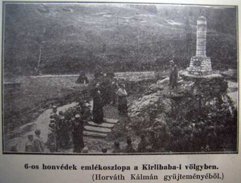 Az emlékoszlop avatása és felszentelése 1917-ben.