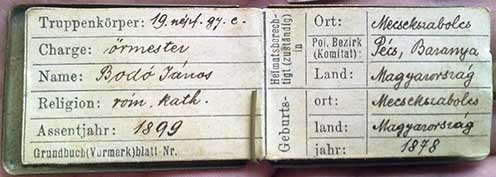 Bodó János őrmester személyi azonosítója a szekszárdi Baka múzeum gyűjteményében