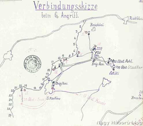 A gáztámadás tervezett helyszíne a védőszakaszokkal 1916 tavaszán. A párhuzamos csík az Isonzó vonala