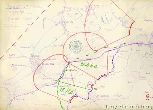 A három támadási területen képződő gázfelhő várt kiterjedésének a vázlata