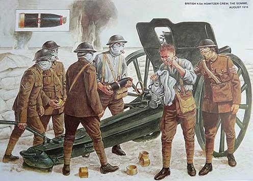 Angol tüzérség gázmaszkban gázgránát kilövésére készül a Somme-nál, 1916