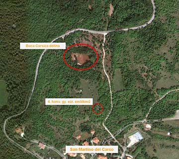 A San Martino del Carso településtől északra található terület Google térképen