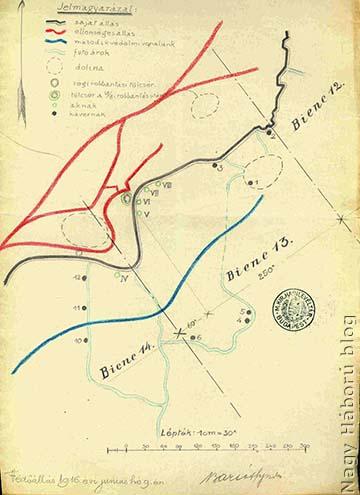 A 13-14-es Biene vázrajza 1916. június 9-én