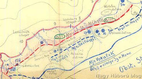 1916. augusztusi vázlat a Schönburg-alagút jelölésével
