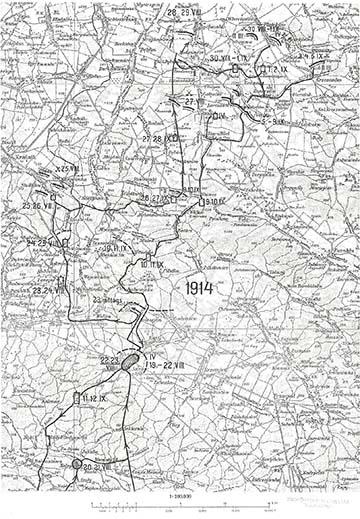 Az ezred hadiútja 1914 augusztusában az északi harctéren