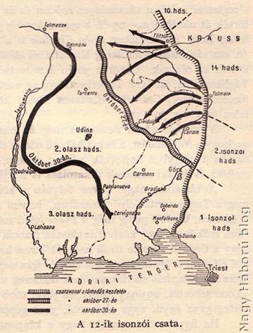 A 12. isonzói csata. Frontvonalak október 27-én és 30-án.