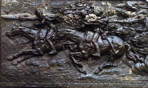 Manno Miltiadesz és Nemes György gorodoki lovasrohamot ábrázoló, bronzból öntött emléktáblája.