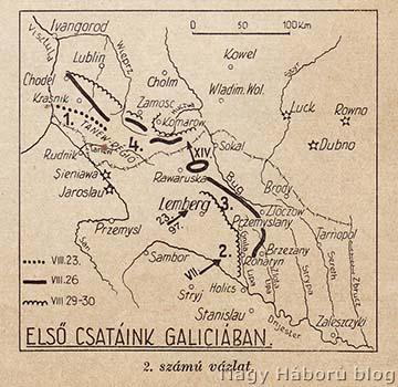 Áttekintő térkép az első galíciai összecsapásokról 1914 augusztusában