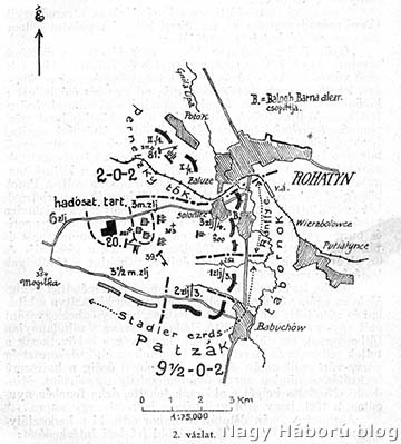 A 20. honvéd hadosztály alakulatainak elhelyezkedése 1914. augusztus 29-én