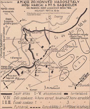 A 20. honvéd gyaloghadosztály helyzete a Monte San Gabrielén, 1917. október 12.