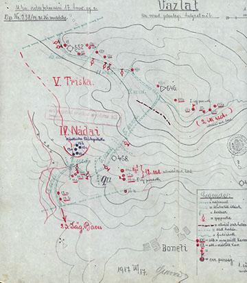 A székesfehérvári 17. honvéd gyalogezred állásai a Monte San Gabrielén 1917. szeptember 17-én