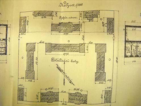 A Baross laktanya és csapatkórház tervrajza 1885-ben