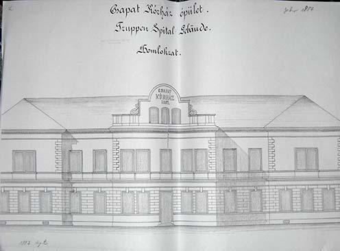 A csapatkórház homlokzata 1887-ben