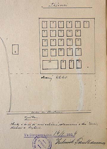 A temető 1924-es vázlata, amelyen 20-25-ig (pirossal 1-6-ig) szerepelnek az újonnan kialakított sírok