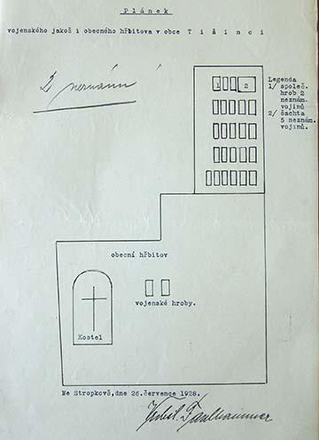 A temető 1928-ban készült vázlata, amelyen a polgári temetőben található két katonai sír is szerepel