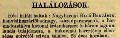 Baló Benjámin halálhíre a Vasárnapi Újság 1917. szeptember 2-i számában