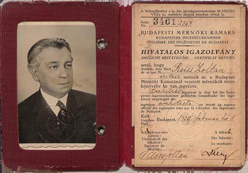 A budapesti Mérnöki Kamara hivatalos igazolványa, 1938. február 1. (KF)