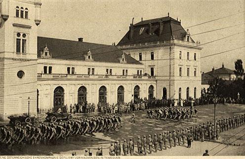 Díszmenet Temesváron von Mackensen tiszteletére