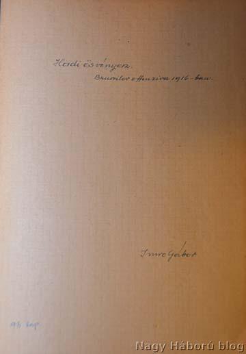 Az 1916-os napló első oldala
