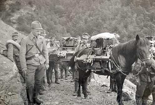 Géppuskák szállítása lovakon hegyi terepen